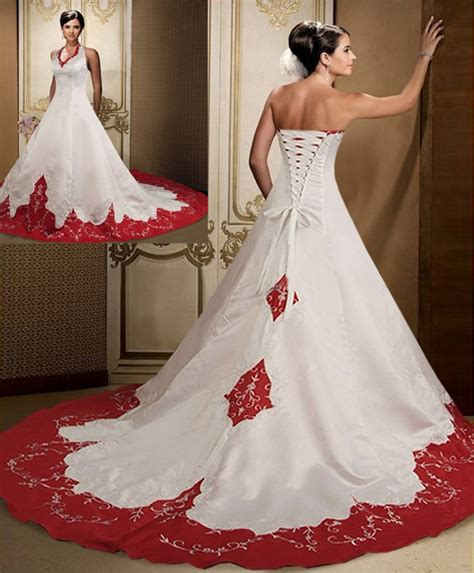 hochzeitskleid mit rot blood pool halterneck wedding gown wedding dresses