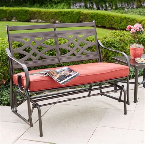 home depot paint glider hton bay middletown patio glider with chili cushions