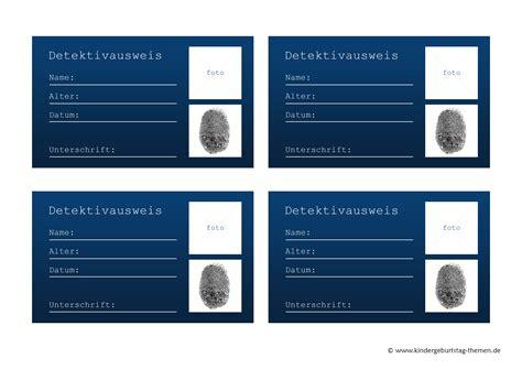 Word Vorlage Ausweis Detektiv Zubeh 246 R Und Deko Selbst Basteln Ausweis Vorlage Zum Ausdrucken