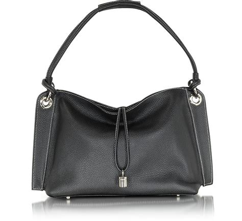 The Buti Charm Drop Bag by Buti Charm Drop Black Pebble Italian Leather Hobo Bag At