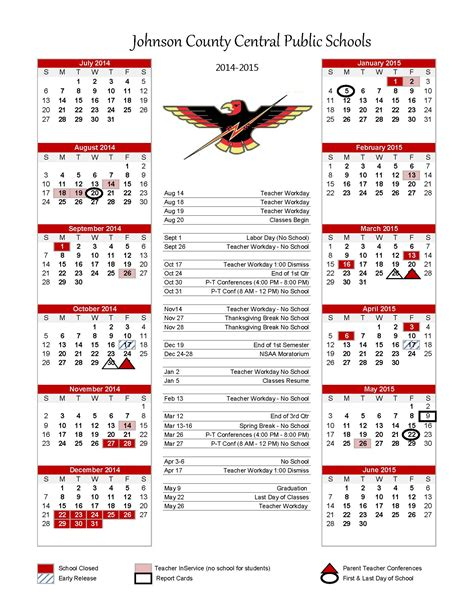 J Calendar 2015 Johnson County Central 2014 2015 Yearly Weekly Calendars