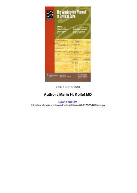 the washington manual of critical care books pictures washington manual of critical care pdf