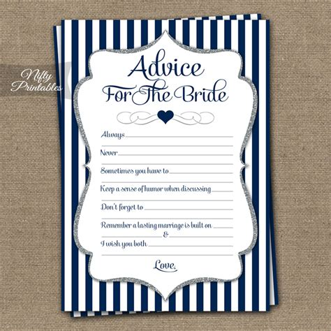 printable bridal shower advice cards printable bridal shower advice cards navy blue silver