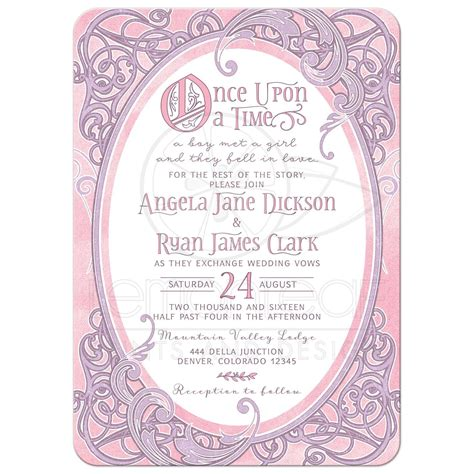tale themed wedding invitations pink purple tale wedding invitation once upon a time ornate frame