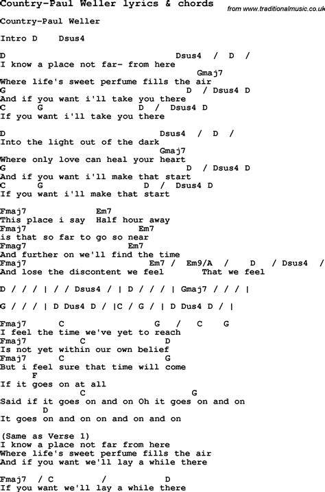 lyrics paul song lyrics for country paul weller with chords