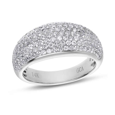 pave rings pave 14k white gold fashion ring 1 ctw samuels