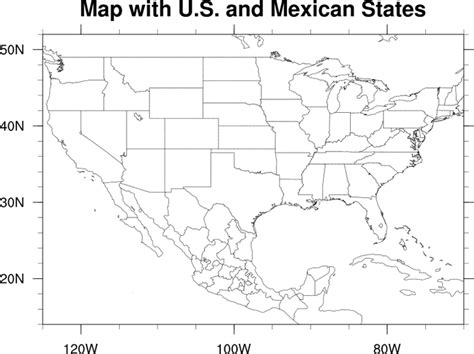 blank map of us canada and mexico ncl graphics map only plots