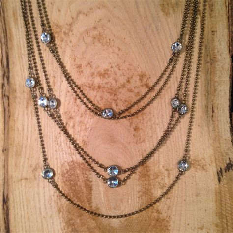 antique bronze 5 strand chain necklace with crystals