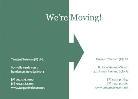 moving announcement template business moving announcements green arrow moving