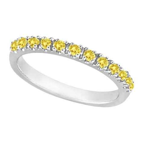 yellow canary stackable ring band 14k white gold 0
