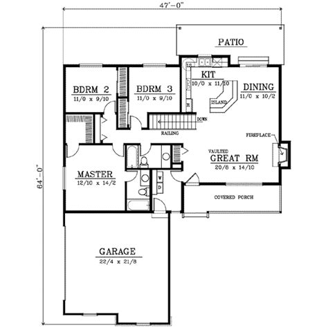 Farmhouse Style House Plan 3 Beds 2 Baths 1400 Sq Ft 1400 Square 3 Bedroom House Plans