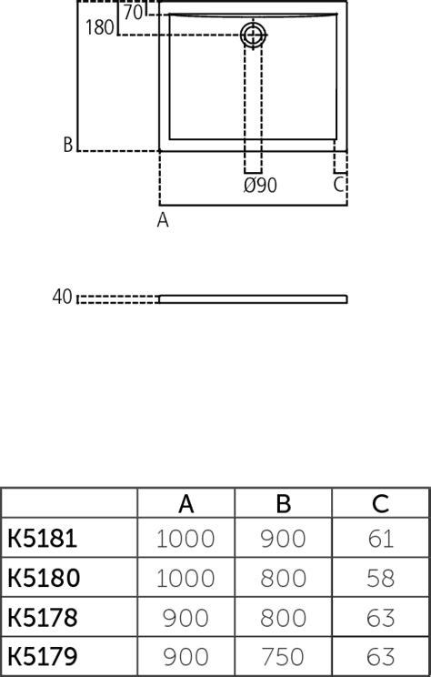 piatto doccia 100x90 dettagli prodotto k5181 piatto doccia in acrilico