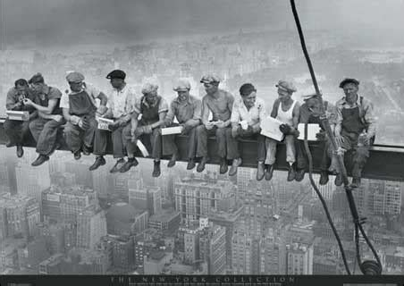 construction prints men on a girder having lunch new york city collection