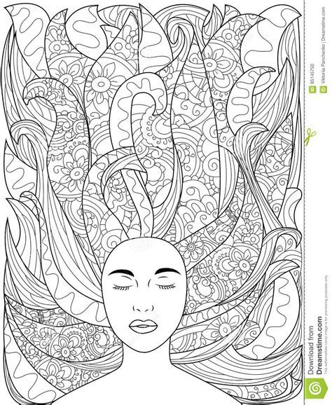 z coloring book for and adults 40 illustrations books beautiful sketch with hair coloring vector for