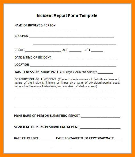 Near Miss Reporting Form Template Blank Incident Report Template Free Construction Incident Injury Reporting Procedure Template