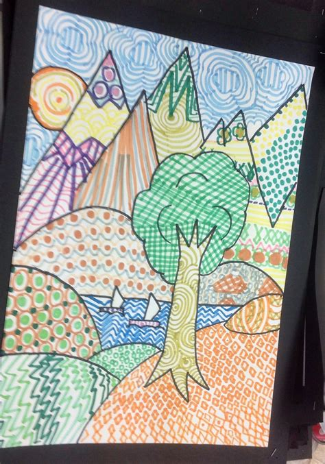 Landscape Grade 4 Grade 5 Zentangle Landscape Drawing 7 The Back Room