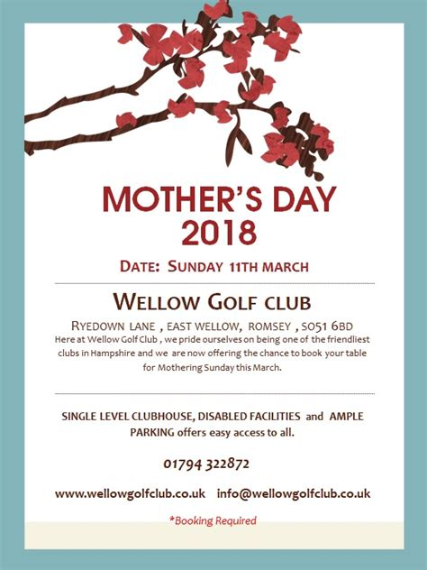 Uk Mothers Day 2018 Clubhouse Archives Wellow Golf Club