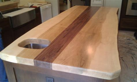 Farm Table Kitchen Island maple slab wood counter top from timbergreen farm