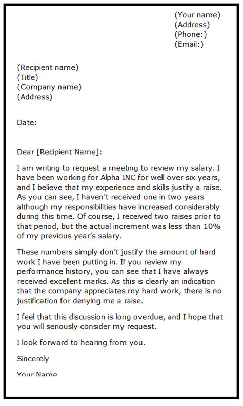 raise request template sle letter requesting a raise sle business letter