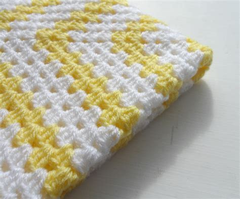 Baby Square Blanket crochet square baby blanket yellow white on luulla