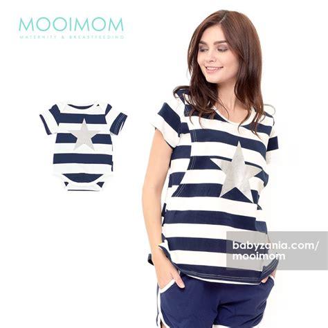 And Stripe Salur Ibu Dan Anak jual murah mooimom stripe nursing set baju menyusui ibu anak navy