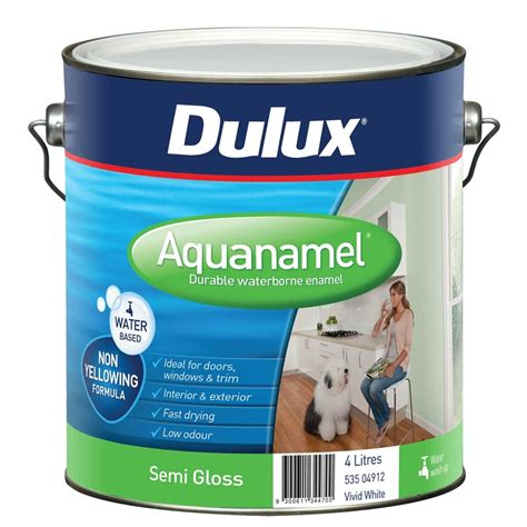 dulux bathroom paint price dulux aquanamel semi gloss 4l white bunnings warehouse