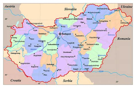 administrative map of hungary with major cities hungary