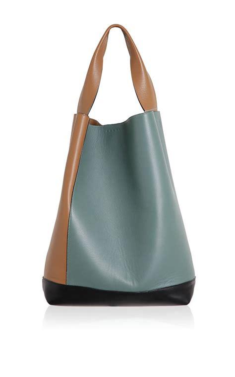 Marni Tinsel Leather Handbag by Rasin Tea Leather Shoulder Bag Marni Accessories