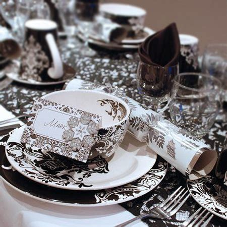 black white and silver table decorations