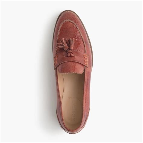 loafers leather j crew biella crackled leather loafers in brown lyst