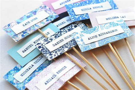 Handmade Name Cards - handmade personalised name cards on sticks by may contain