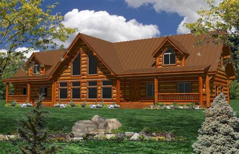 One Story Log Home Floor Plans | one story log home plans ranch log homes log cabin home