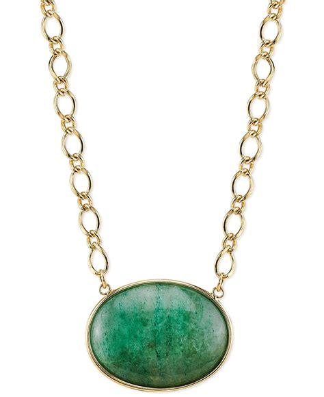 2028 gold tone green aventurine pendant necklace in