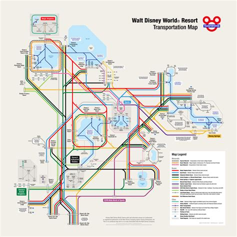 sw boat rides orlando fl walt disney world transportation map in metro style