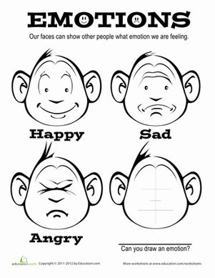 emotions worksheet education com