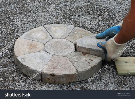 decorative brick laying laying decorative pavers circular pattern stock photo