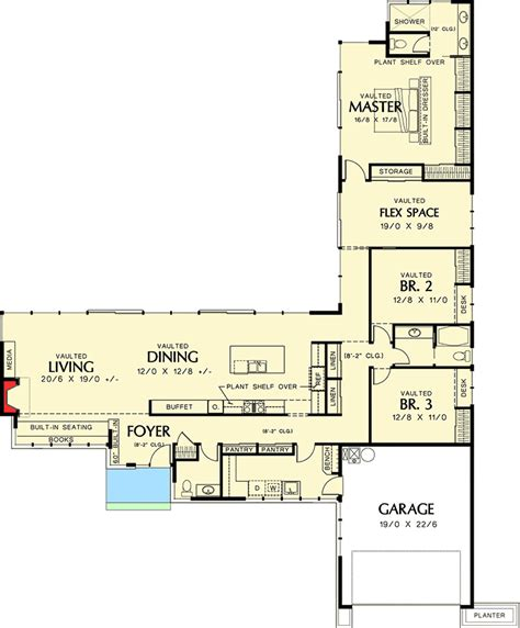 california floor plans long low california ranch 69401am architectural
