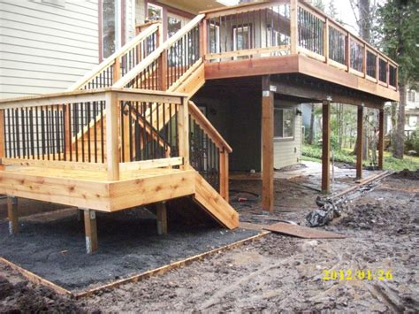 second story deck plans pictures second story cedar deck deck masters llc portland or
