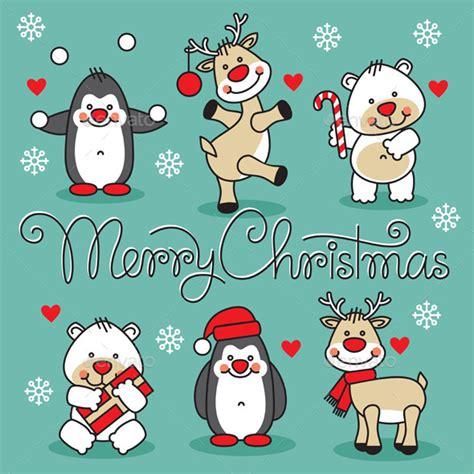 merry christmas animals  milyana graphicriver