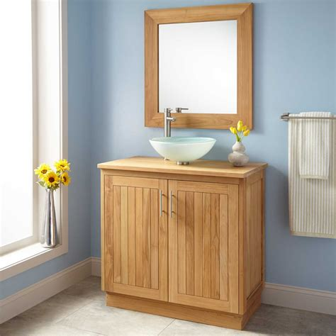 bathroom vanity small depth 36 quot narrow depth montara teak vessel sink vanity