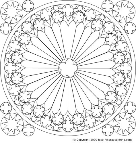 rose window from the cathedral of strasbourg coloring page