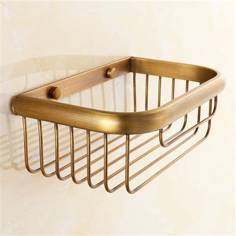 hanging baskets for bathroom antique brass brushed storage rack hanging basket bathroom