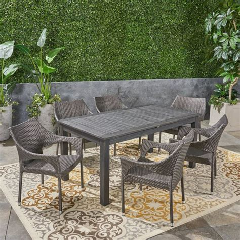 piece gray finish outdoor furniture patio expandable