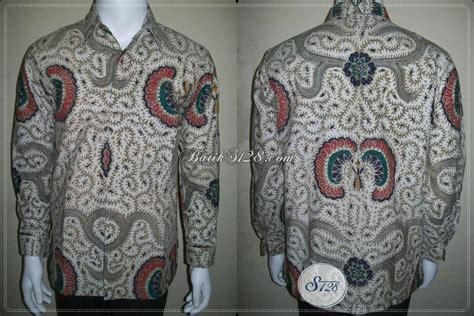 Batik Tulis Motif Babon Angkrem kemeja batik lengan panjang pria warna putih motif babon