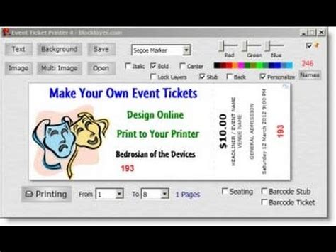 Create Your Own Tickets Template Free Easy Ticket Creator Software Youtube