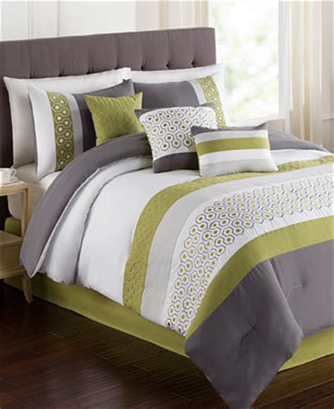 closeout grove 7 piece queen embroidered comforter set