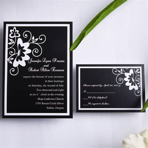 Classic black and white floral wedding invitations EWI153 as low as $0.94