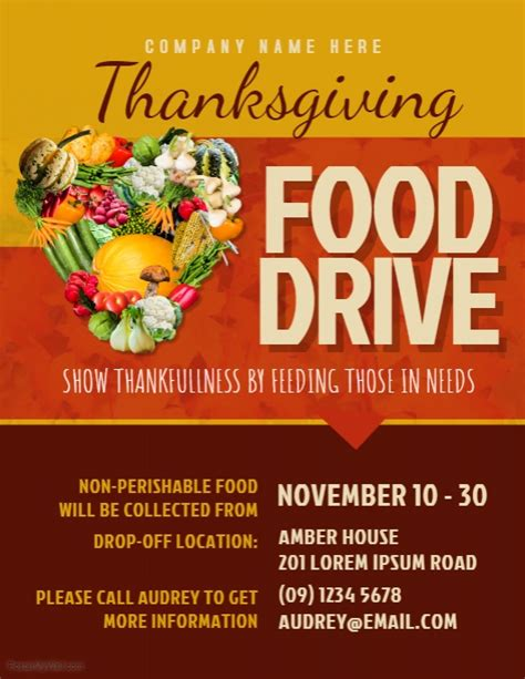 Thanksgiving Food Drive Flyer Template Postermywall Free Can Food Drive Flyer Template
