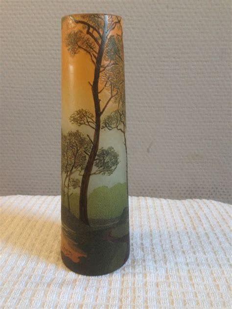 legras cie vase avec d 233 cor grav 233 d un paysage de for 234 t