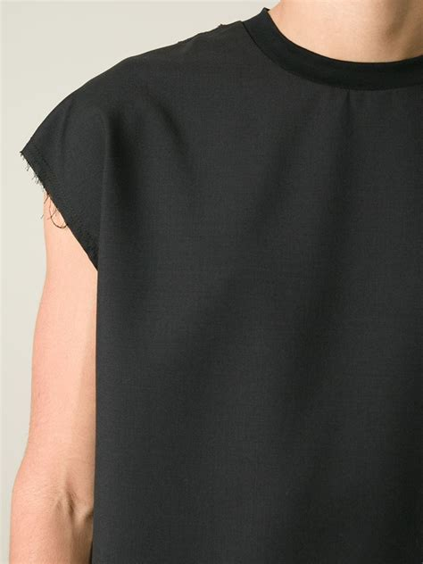 Sleeveless Print T Shirt lyst lanvin sleeveless t shirt in black for